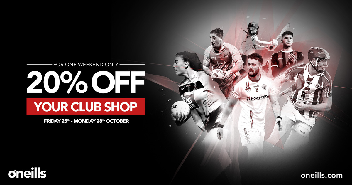 20% off club gear in O'Neills Shop